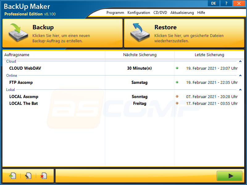 Click to view BackUp Maker 7.305 screenshot