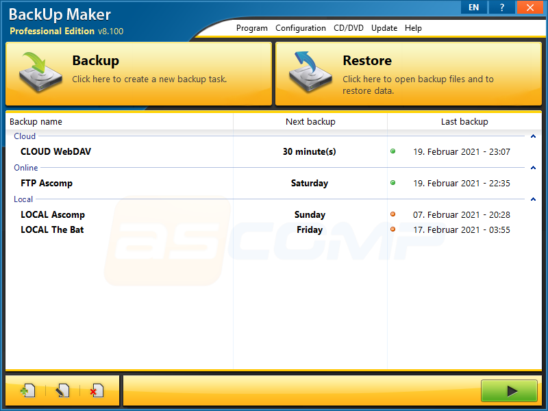 Click to view BackUp Maker 6.4 screenshot